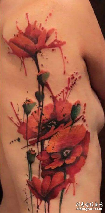 侧腰彩色罂粟花纹身图片