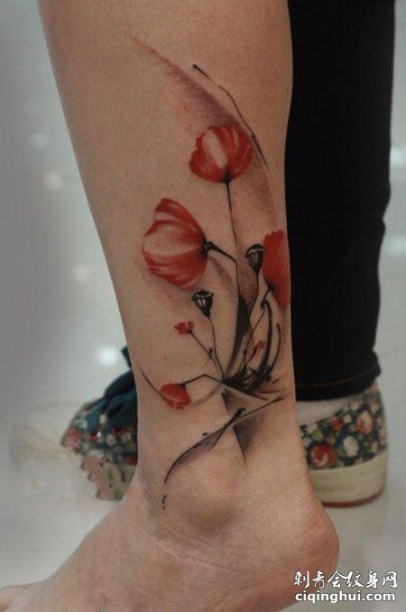 脚踝罂粟花纹身图案
