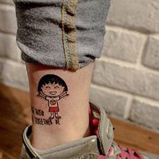 脚踝樱桃小丸子纹身图片