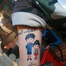 小腿樱桃小丸子纹身图片