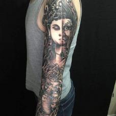花臂佛魔一念之间纹身图片