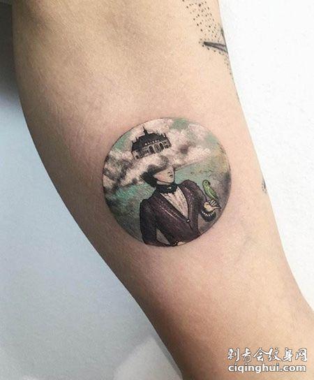 手臂有创意的圆形图案纹身图片