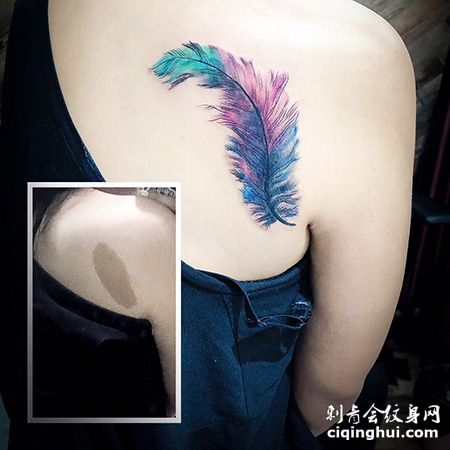 背部性感妖艳羽毛胎记遮盖纹身图案
