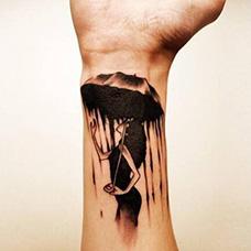 手腕抽象雨伞女人纹身图案