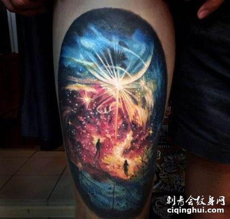 大腿宇宙星空纹身图案