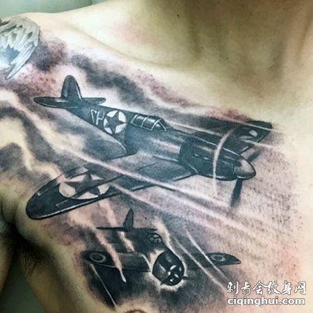 胸前复古战斗机纹身图案
