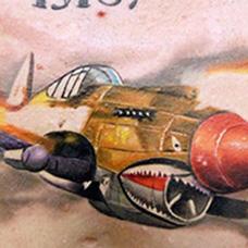 胸前开火的战斗机纹身图案