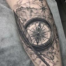 3D航海指南针手臂磁性纹身图片