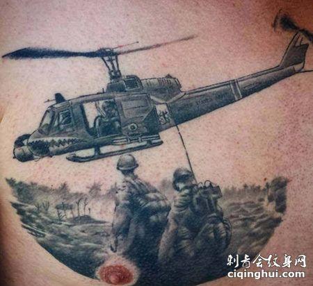 胸前直升机纹身图案