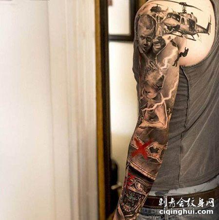 花臂帅气的直升机纹身图案
