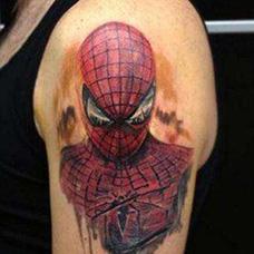 大臂个性蜘蛛侠纹身图片