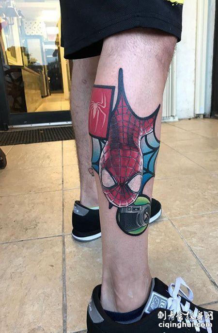 小腿蜘蛛侠纹身图案