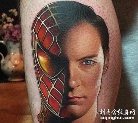小腿蜘蛛侠脸部纹身图案