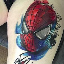 大腿个性的蜘蛛侠纹身图案