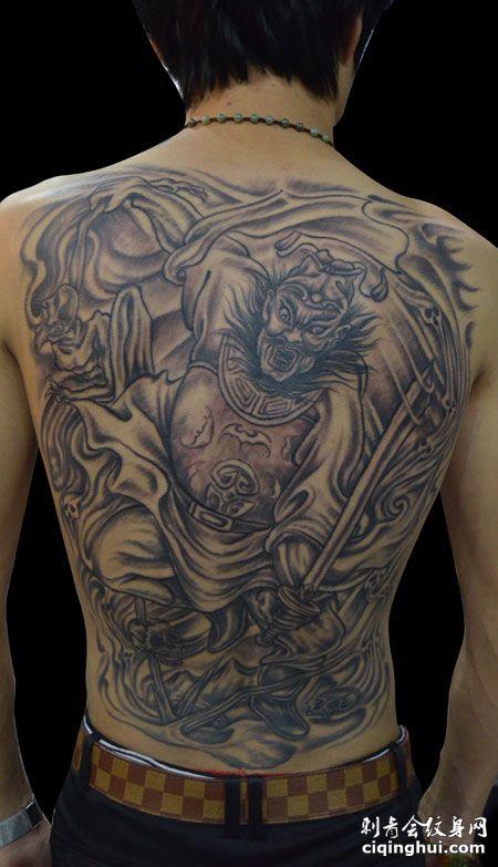 满背个性钟馗纹身图案