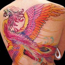 背部经典的朱雀纹身图片