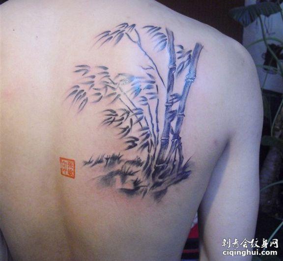 肩部竹子纹身图片