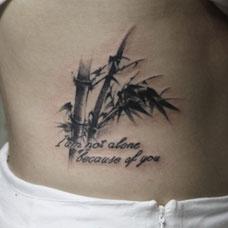 腹部竹子纹身图片