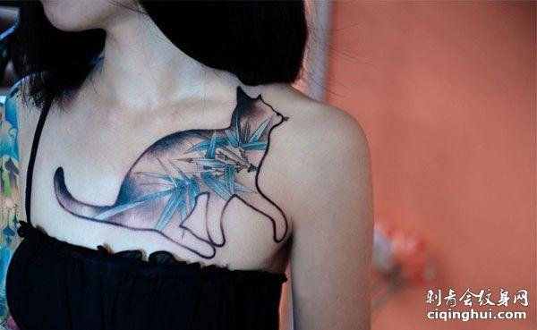 胸部性感创意竹子猫咪纹身