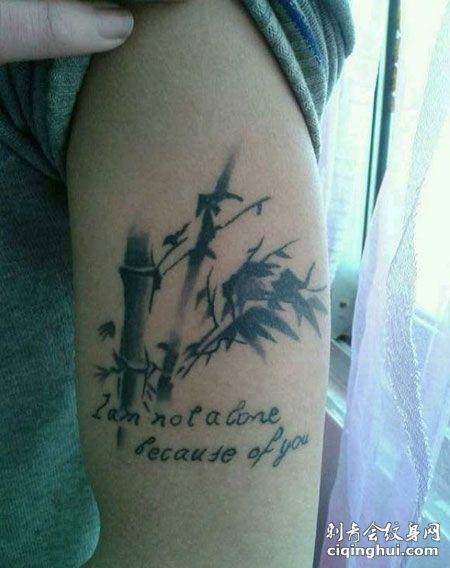 大臂竹子英文纹身图片