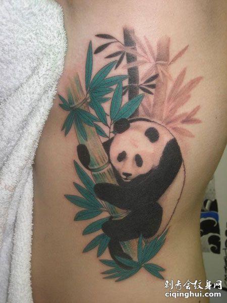 侧腰熊猫竹子纹身图片