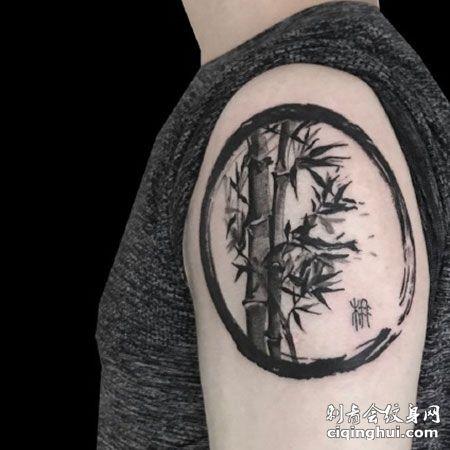 暗黑唯美水墨竹子纹身图案