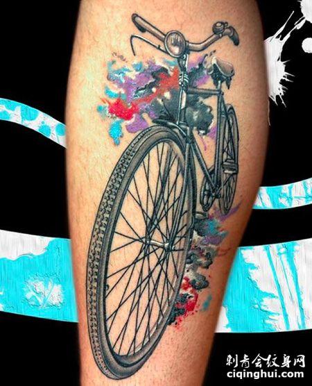 手臂自行车纹身图案