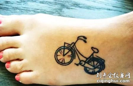 脚背自行车纹身图片