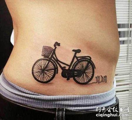 侧腰自行车纹身图案