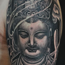 大臂经典好看的如来佛祖纹身图片
