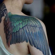 肩部精美的翅膀纹身图片