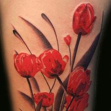 胳膊上彩绘罂粟花刺青图案