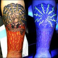 手腕霸气夜光纹身白天效果图对比