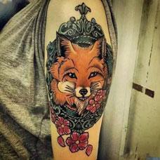 狐狸图案手臂纹身 狐狸彩绘纹身大全