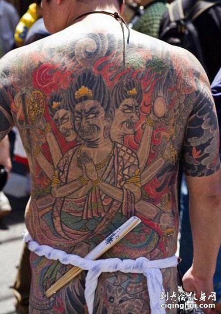 山口组满背纹身图片