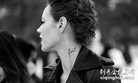 美女模特freja颈部性感纹身图片