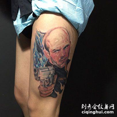 杰森斯坦森帅气头像小腿纹身