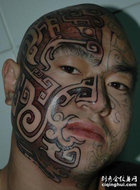 纹身狂人陈天骄面部刺青