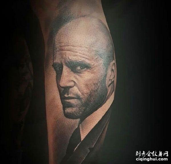 帅气杰森·斯坦森头像手臂纹身