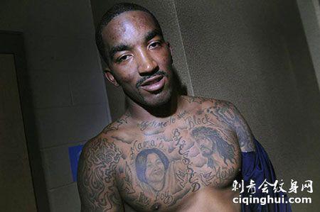 JR史密斯胸部母亲与耶稣欧美风纹身图案