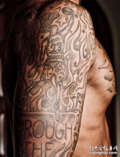 JR史密斯15岁右花臂霸气纹身