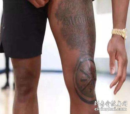 NBA球星韦德大腿及膝盖纹身图案