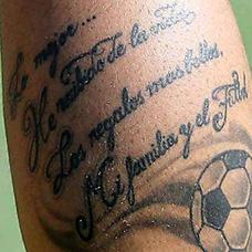 大腿足球英文纹身图案
