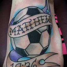 脚背足球纹身图案